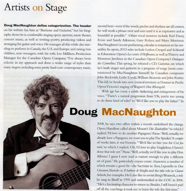 Photo of Opera Canada article about Doug MacNaughton