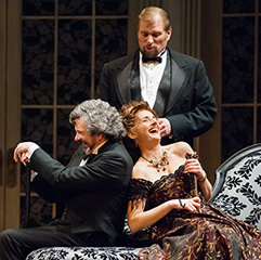 Pacific Opera Victoria's April 2008 production of Regina. Left to right - Doug MacNaughton, Gregory Dahl, Kimberly Barber. Photo: Ross den Otter